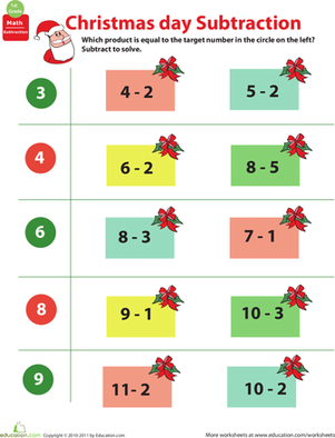 Kindergarten Math Worksheets: Holiday Math: Christmas Subtraction