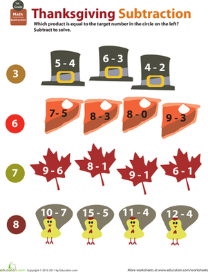Holiday Math: Thanksgiving Subtraction | Worksheet | Education.com