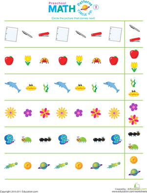 Preschool Math Worksheets: Circle Up! Patterns #2
