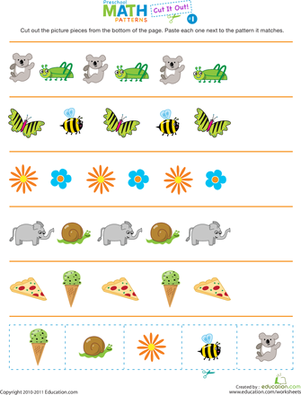 Preschool Math Worksheet Cut It Out Patterns 1