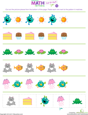 Preschool Math Worksheets: Cut It Out! Patterns #2