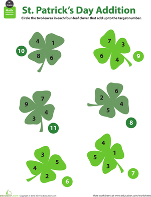 First Grade Holidays & Seasons Worksheets: Holiday Math: St. Patrick's Day Addition
