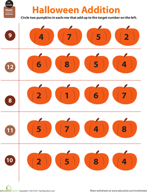 First Grade Math Worksheets: Holiday Math: Halloween Addition