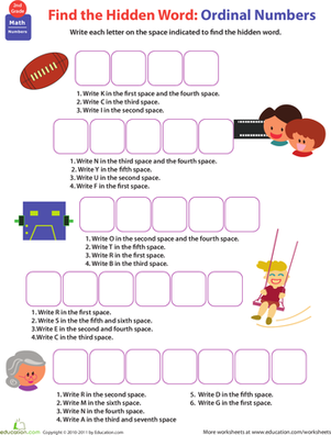 Know All About Numbers: Ordinal Numbers   Worksheet   Education.com
