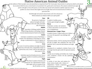 Third Grade Social Studies Worksheets: Native American Beliefs: Animal Guides