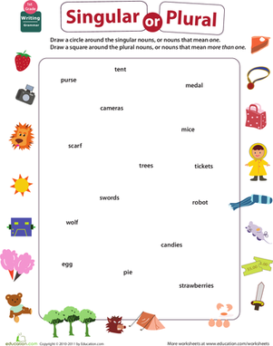 First Grade Reading & Writing Worksheets: Get into Grammar: Singular or Plural Nouns?