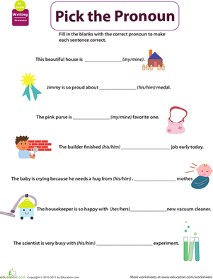 First Grade Reading & Writing Worksheets: Get into Grammar: Pick the Pronoun