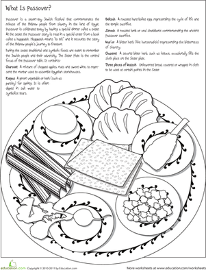 Second Grade Holidays & Seasons Worksheets: Color the Passover Seder Plate