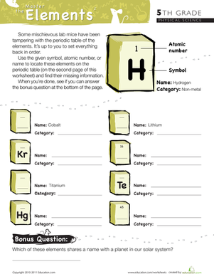 Fifth Grade Science Worksheets: Master the Periodic Table of Elements #2