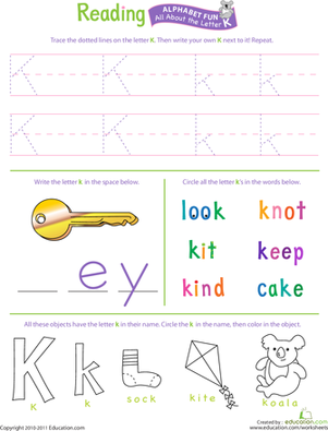 Preschool Reading & Writing Worksheets: Get Ready for Reading: All About the Letter K