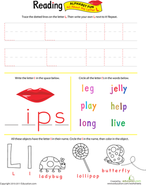 Preschool Reading & Writing Worksheets: Get Ready for Reading: All About the Letter L