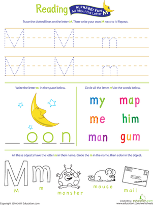 Preschool Reading & Writing Worksheets: Get Ready for Reading: All About the Letter M