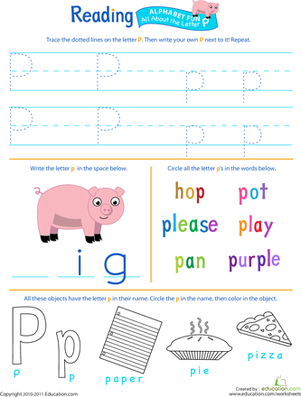 Preschool Reading & Writing Worksheets: Get Ready for Reading: All About the Letter P