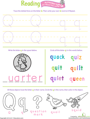 Preschool Reading & Writing Worksheets: Get Ready for Reading: All About the Letter Q