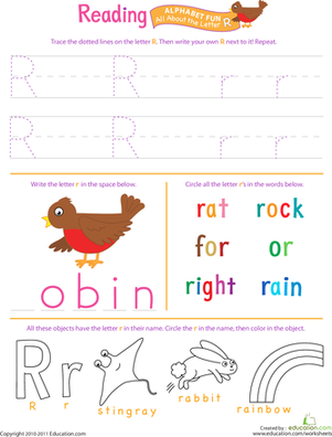 Preschool Reading & Writing Worksheets: Get Ready for Reading: All About the Letter R