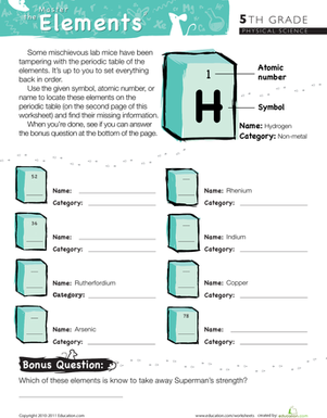 Fifth Grade Science Worksheets: Master the Periodic Table of Elements #9