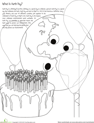 First Grade Coloring Worksheets: Happy Birthday Earth! Color the Earth Day Scene