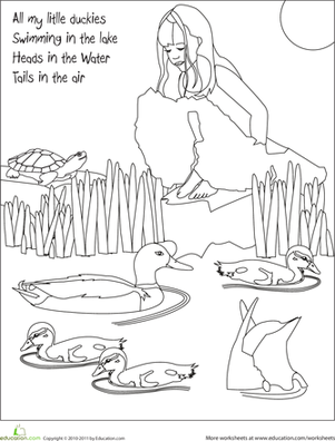 Kindergarten Holidays & Seasons Worksheets: Color the Spring Ducks