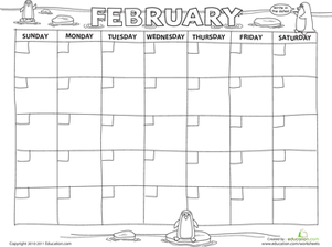 Preschool Math Worksheets: Create a Calendar: February