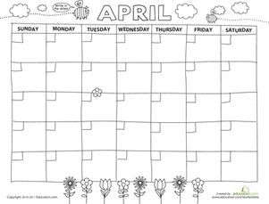 Preschool Math Worksheets: Create a Calendar: April