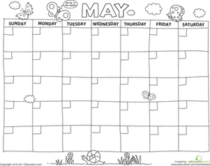 Preschool Holidays & Seasons Worksheets: Create a Calendar: May