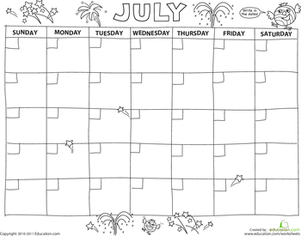 Preschool Math Worksheets: Create a Calendar: July