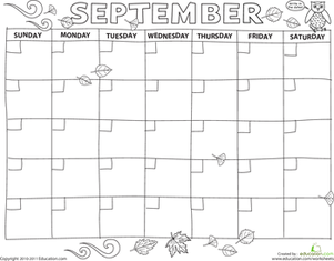 Preschool Math Worksheets: Create a Calendar: September