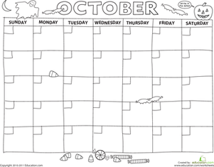 Preschool Math Worksheets: Create a Calendar: October