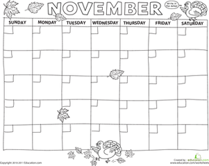 Preschool Math Worksheets: Create a Calendar: November