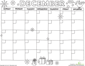Preschool Holidays & Seasons Worksheets: Create a Calendar: December