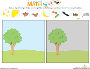 preschool math day and night worksheet. Black Bedroom Furniture Sets. Home Design Ideas