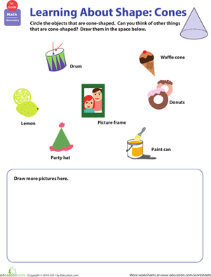 First Grade Math Worksheets: Cone Shapes