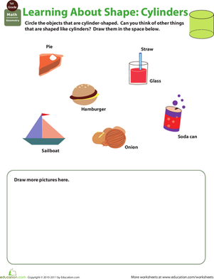First Grade Math Worksheets: Cylinder Shape
