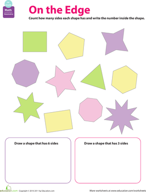 First Grade Math Worksheets: How Many Sides?