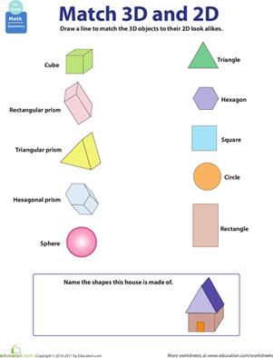 First Grade Math Worksheets: 2D and 3D Shapes