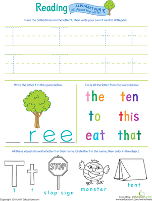 Preschool Reading & Writing Worksheets: Get Ready for Reading: All About the Letter T