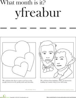 First Grade Social Studies Worksheets: Month of February