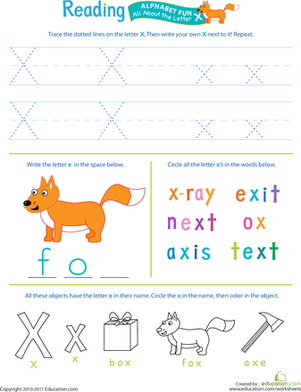 Get Ready For Reading All About The Letter X