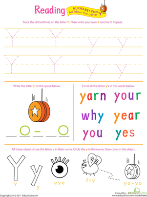 Preschool Reading & Writing Worksheets: Get Ready for Reading: All About the Letter Y
