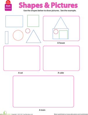 First Grade Math Worksheets: Shapes and Pictures