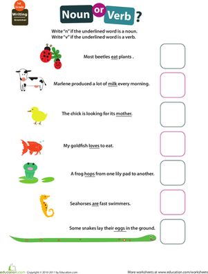 Get Into Grammar Noun Or Verb Worksheet Education Com