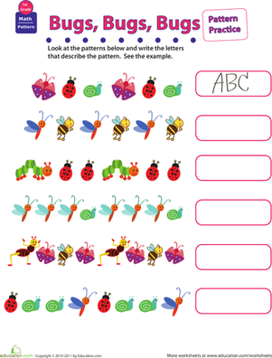 First Grade Math Worksheets: Practice Patterns: Bugs, Bugs, Bugs