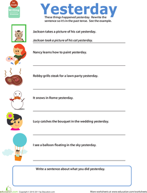 First Grade Reading & Writing Worksheets: Get into Grammar: Past Tense