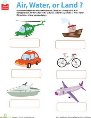 First Grade Social Studies Worksheets: All About Transportation: Air, Water, or Land?