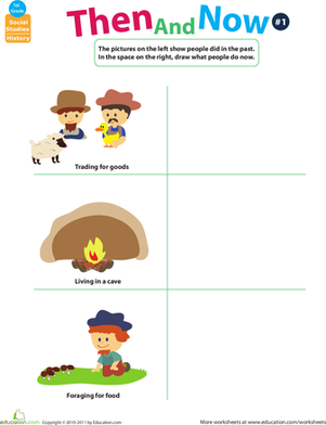 First Grade Social Studies Worksheets: Thinking Past and Present: Then and Now #1