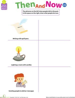 First Grade Social Studies Worksheets: Thinking Past and Present: Then and Now #2