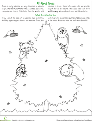 First Grade Holidays & Seasons Worksheets: Celebrate Trees with a Coloring Activity