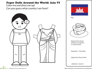 First Grade Social Studies Worksheets: Paper Dolls Around the World: Cambodia
