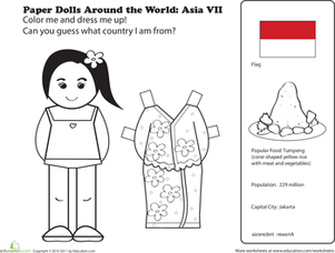 First Grade Social Studies Worksheets: Paper Dolls Around the World: Indonesia