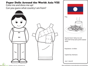 First Grade Social studies Worksheets: Paper Dolls Around the World: Laos